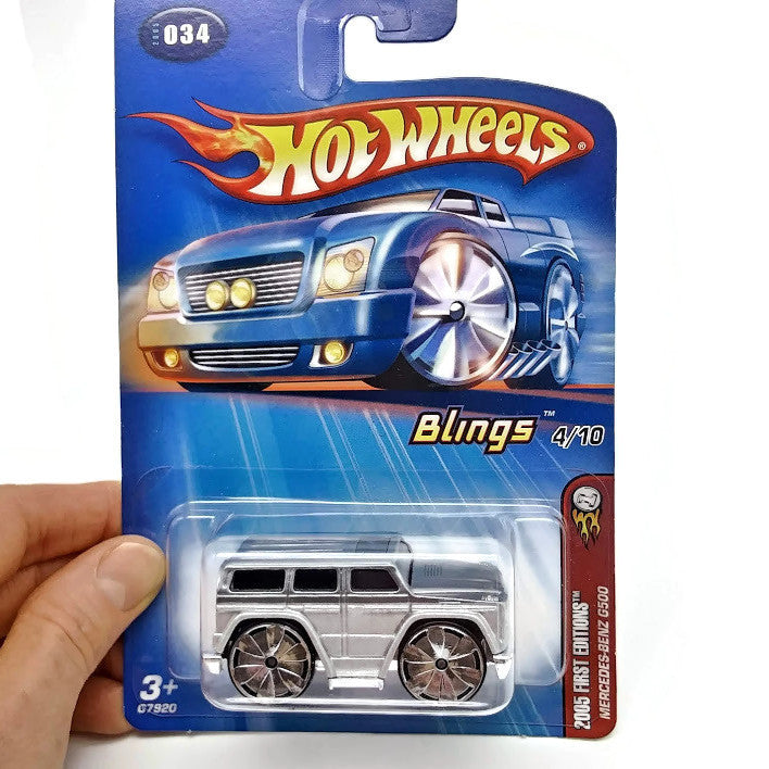 Hot Wheels 2005 First Editions, Mercedes-Benz G500, Blings 4/10 #034, Gray, NEW