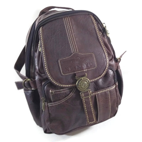Xiangyu Backpack Leather Travel Bag Handbag Brown Unisex