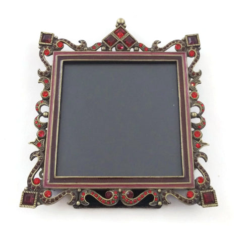 Table Photo Frame Red Stones Metal Ornate 3 x 3 in