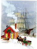 A Snowy Christmas Evening Holiday Seasons Greeting Card Art Paint Illustrated by George Shedd