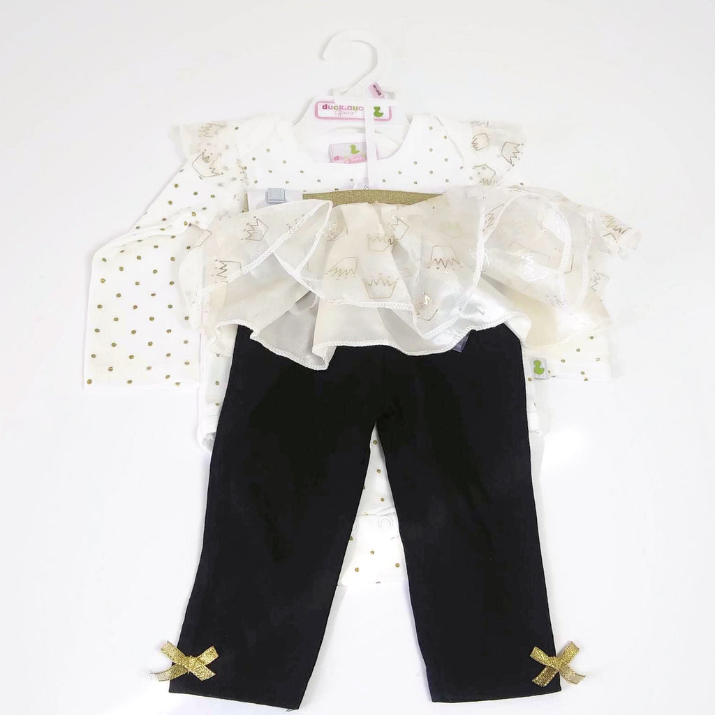 "Baby Girl Duck.Duck Goose 6-9M Black/White/Gold  ""Give me Sparkle"" Outfit"
