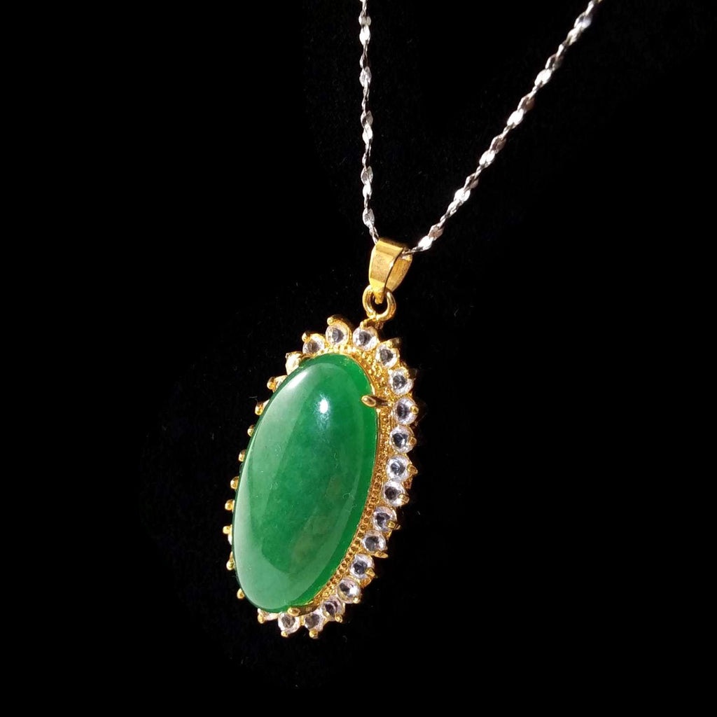 Women's Antique Green Stone Pendant Necklace Silver Tone Jewelry NEW