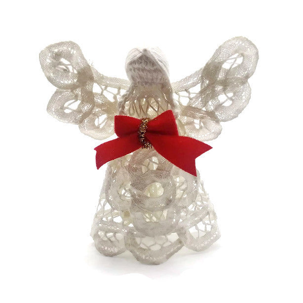 Vintage Christmas Angel Handmade White Cotton Starched Crochet Ornament 4 in