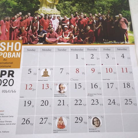 OSHO TAPOBAN An International Commune 2020 Wall Events Calendar NEW