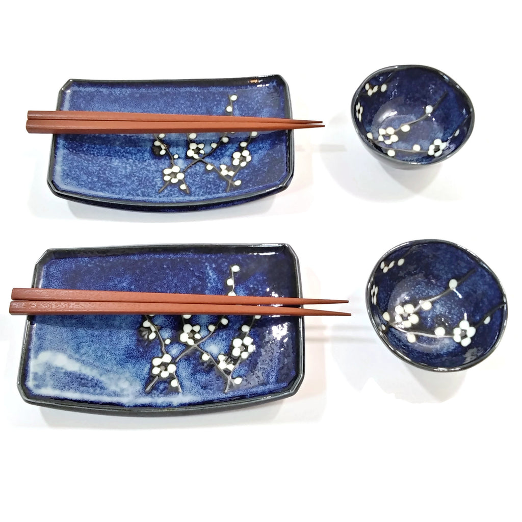 Hand Crafted Sushi For Two Set Namako Blossom Flowery Blue/White/Black Dinnerwar