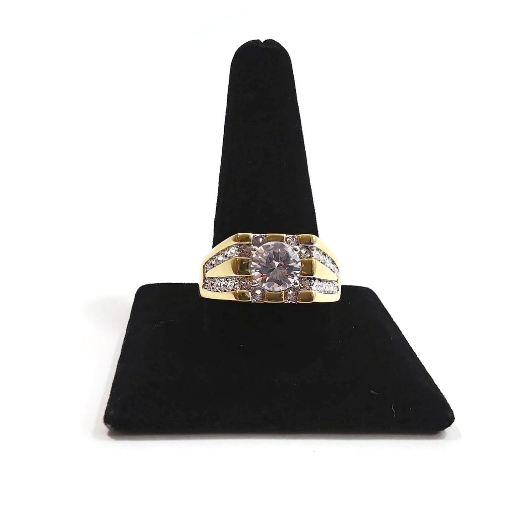Men's 14K Yellow Gold Plated Round Cubic Zirconia and Round Crystal Grid Ring Si