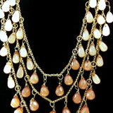 Laila Rowe Triple Strand Necklace Pink/Brown Drop-Stones Jewels Copper Tone Colo