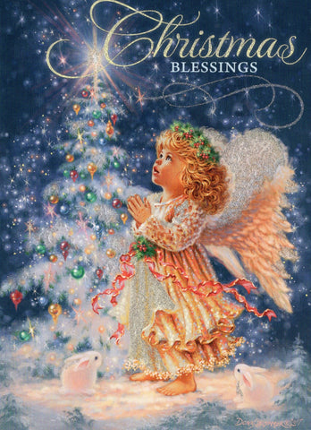 """Christmas Blessings"" Golden Angel Girl Sparkling Christmas Greeting Card"