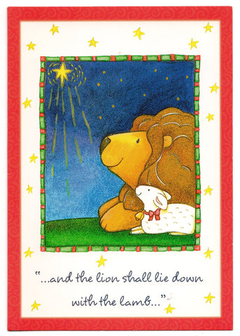 Vintage Christmas Holiday Season's Blessings Greeting Card Lion and Lamb
