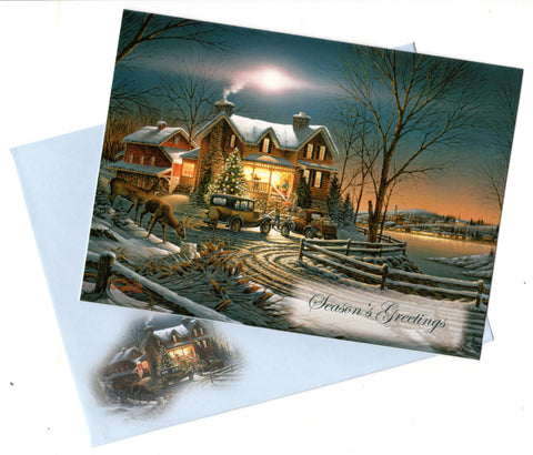 Vintage Season's Greetings Christmas Blessings Greeting Card