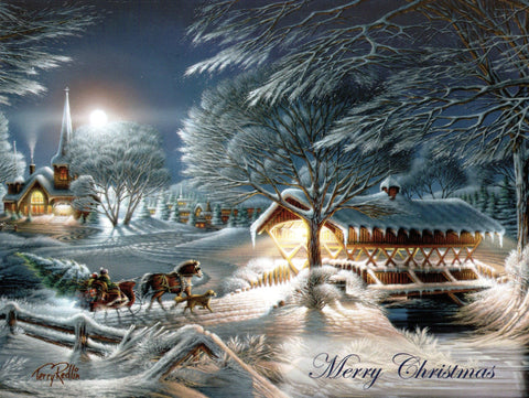 Merry Christmas Snowy Night Christmas Holiday Seasons Greeting Card