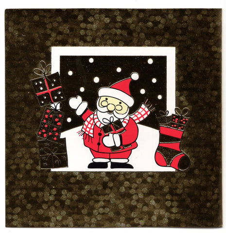Goldish Santa Claus W/Gifts Marry Christmas & Happy New Year holidays Greeting Card