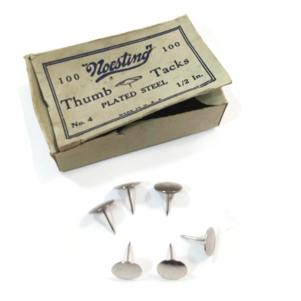 "Vintage ""Noesting"" Brass Thumb Tacks Plated Steel No. 4 1/2 In. Needles Collecti"