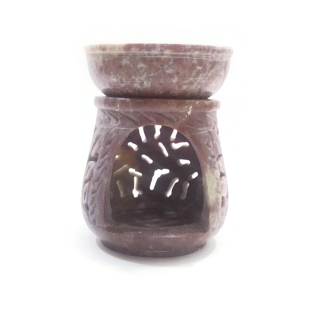 "Natural Oil Diffuser Soapstone Oil Burner Round Leaves 4"" Handmade"