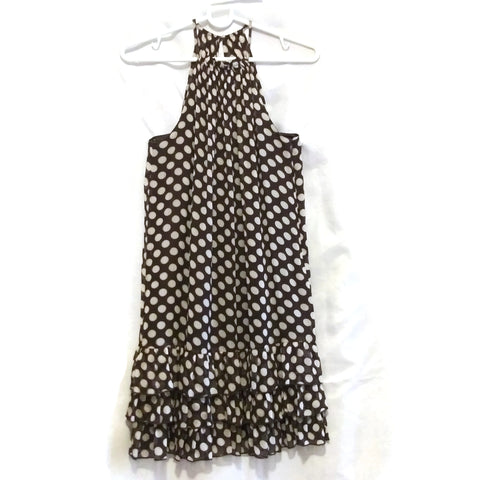 VERO MODA Halter Neck Sleeveless Mini Dress Brown & White Dots Print NEW