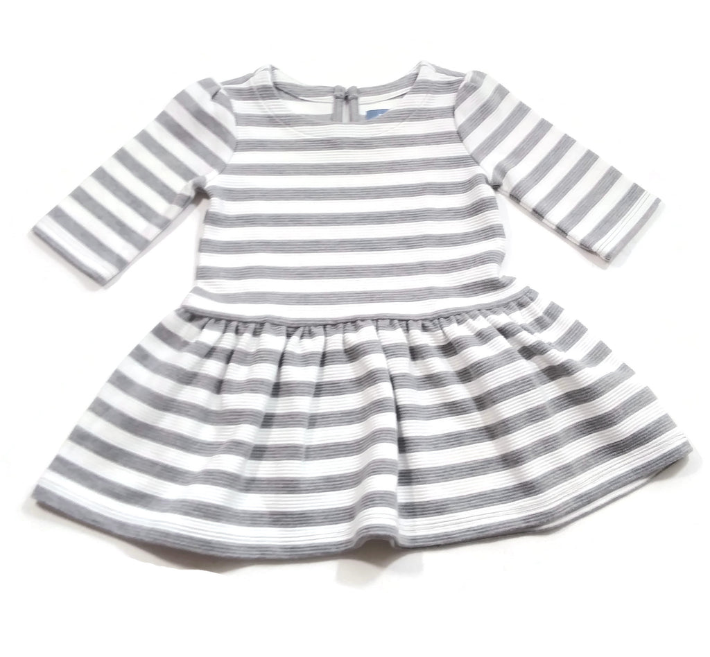 Baby Gap Girl Gray & White Striped Drop Waist Long Sleeve Sweater Dress 12-18M