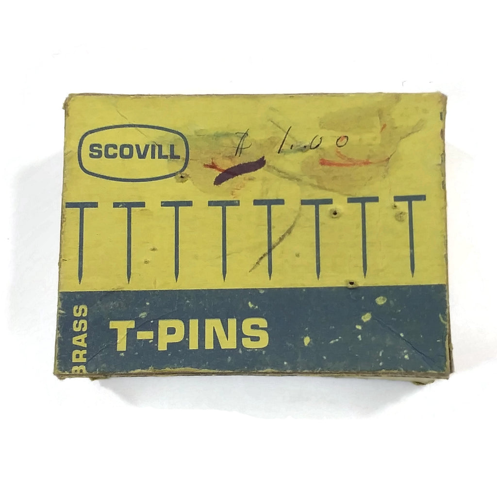 "Rare Vintage Scovill Brass 100 T-Pins NO.24 1.5"" Long Needles Sewing Crafts Collectible"
