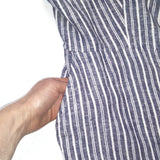 Old Navy Women's White/Blue Sleeveless Striped Wide Leg Comfortable Jumpsuit