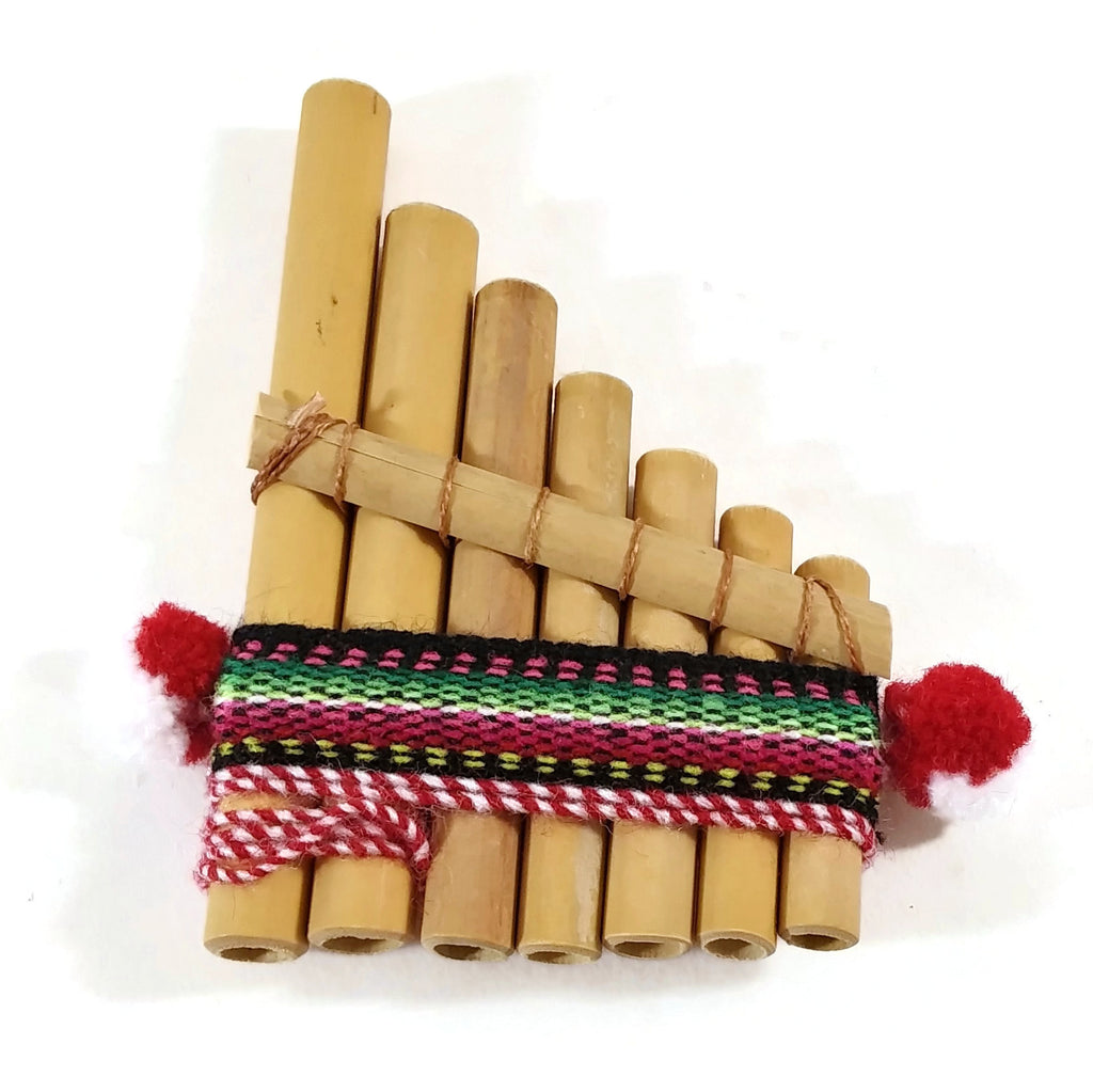 "Andean Indian Bamboo Pan Pipes Flute 7 small Pipes W 2.5"" x L 4"" Handmade - NEW"