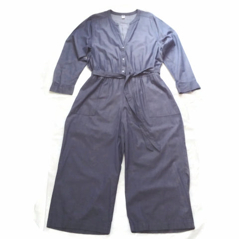 Women's Old Navy Utility Jumpsuit Waist Defined Chambray Pockets V Neck Long