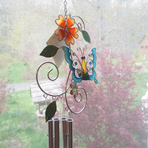 Carson Home Accents, Butterfly Suncatcher Garden Wind Chimes,  29 inches - NEW