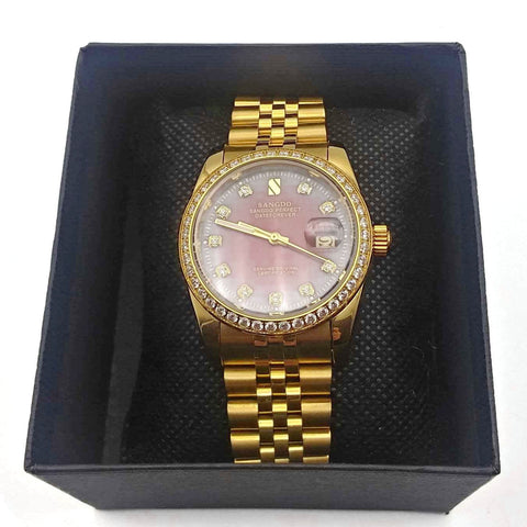 Men's Watch, Gosasa Diamonds, Gold Stainless Steel Band Automatic Mechanical