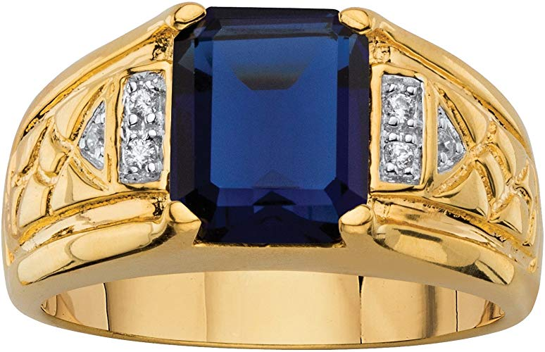 Men's Ring 18K Yellow Gold Blue Sapphire and Diamond Size 12.5