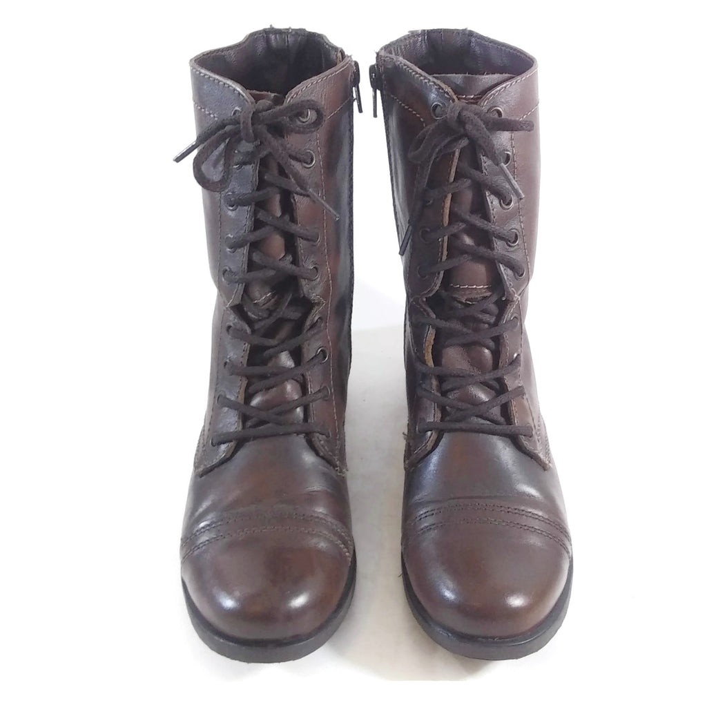 Steve Madden Troopa Combat Boot Women's Brown Leather 9.5M NEW