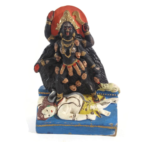 Handmade Ganges Clay Mother Kali Kalika India Goddess Standing Over Shiva