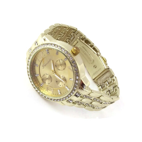 Unisex Men & Women Bracelet Wrist Gold Tone Watch