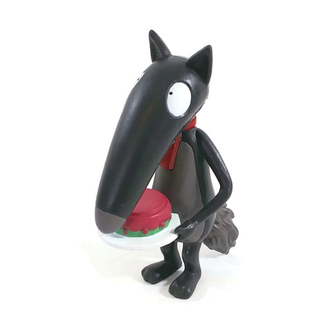 "3.125"" Black Wolf  Figurine With A Red Tie Holding A Birthday Cake"