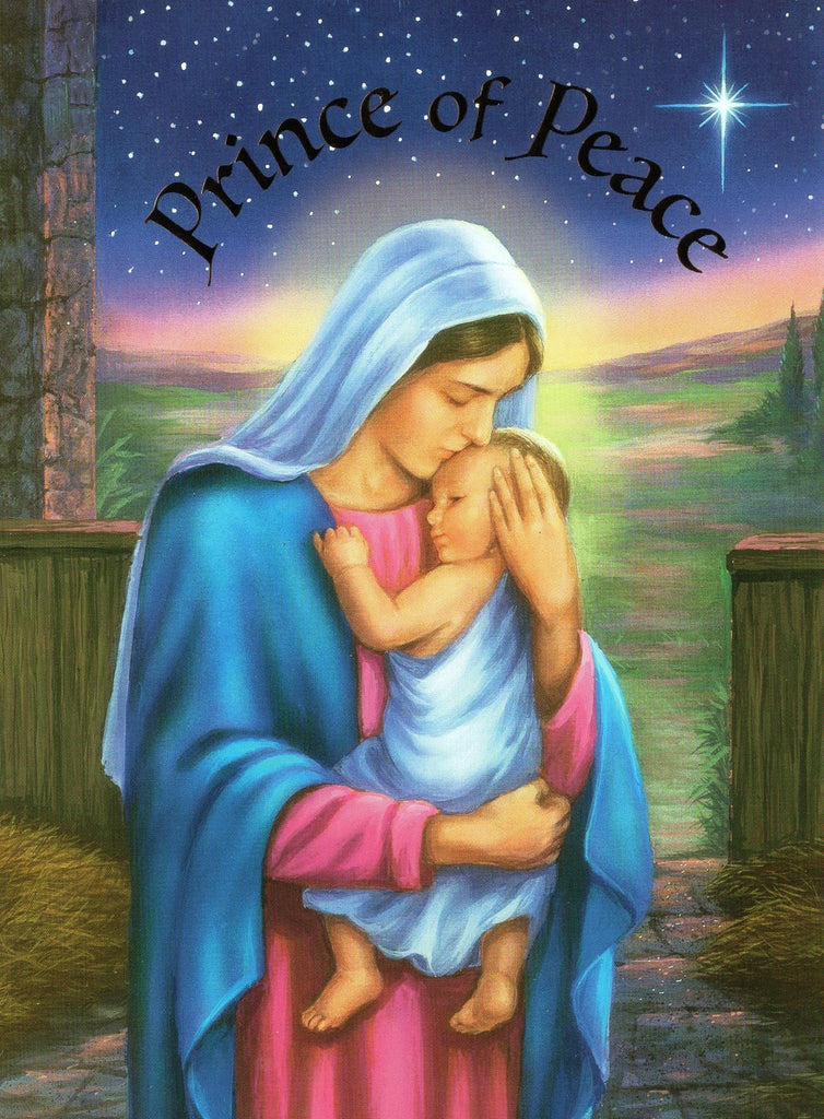 "Virgin Marry Holding Baby Jesus Greeting Card ""God is With Us"" Matthew 1:23"
