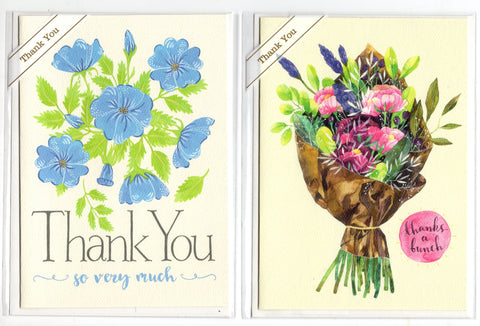 Lot of 2 Trader Joe's Thank You Greeting Cards Flowers Spring Time New