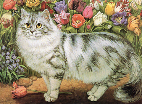 Gray Cat by Flower Shrubs Cat Collection Blank Art Greeting Card Vintage