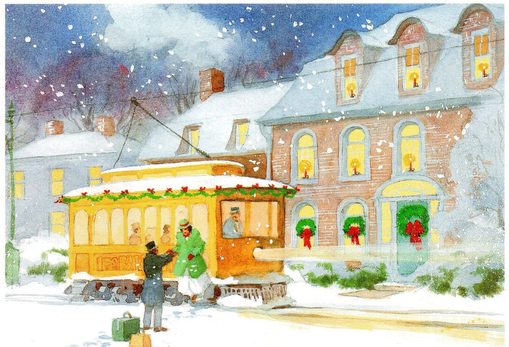A Snowy Evening Christmas Holiday Season Greeting Card Art Paint
