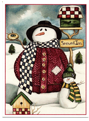 """The Inn Keepers"" Snow Mans Christmas Holiday Seasons Greeting Card"