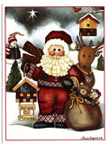 Santa Claus Reindeer and Christmas Gifts Holiday Seasons Greeting Card