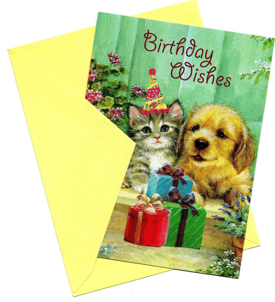 Birthday Wishes Greeting Card a Dog and a Cat