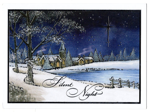 Silent Night Shiny Glowing Star Snowy Christmas Blessings Holiday Seasons Greeti