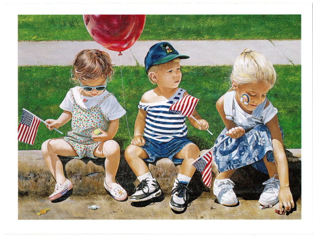 Parade Partners Children 4th of July Patriotic Blank Greeting Card