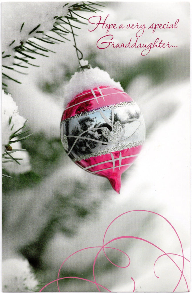 To My Granddaughter Merry Christmas Holiday Seasons Greeting Card