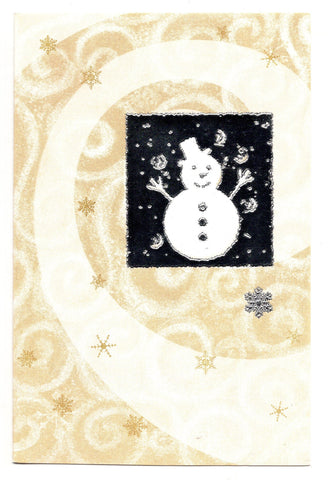 Shiny Snowman Snow Flex Marry Christmas Holidays Seasons Greeting Card