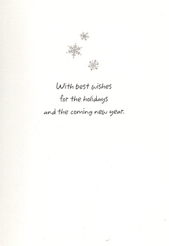 Glittered Silver Snow Flax Christmas New Year & Holidays Wishes Greeting Card