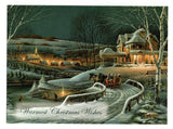 Warmest Christmas Wishes Holiday Seasons Greeting Card Vintage