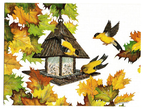 Goldfinches Bird Birds Lovers Collection Blank Art illustrated Greeting Card