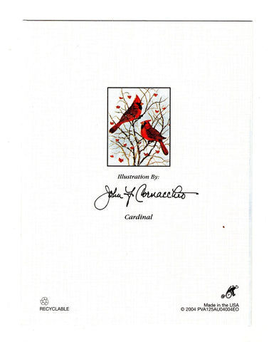 Cardinal Bird Birds Lovers Collection Blank Art illustrated Greeting Card