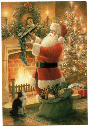 Santa Claus Christmas Tree & Gifts Holidays Wishes Greeting Card