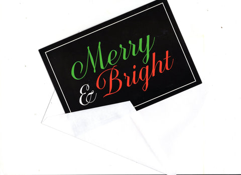 Merry & Bright Christmas Vintage Greeting Card Holiday Seasons New Year Wishes