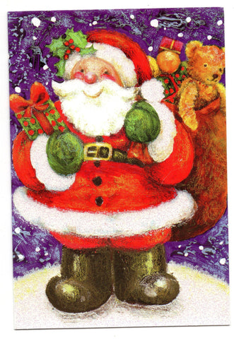 Santa Claus W/Gifts Holidays Seasons Wishes Marry Christmas Greeting Card