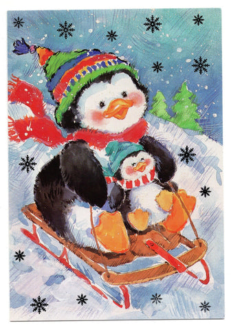 Penguin Snow Skating Marry Christmas Holidays Seasons Greeting Card Vintage